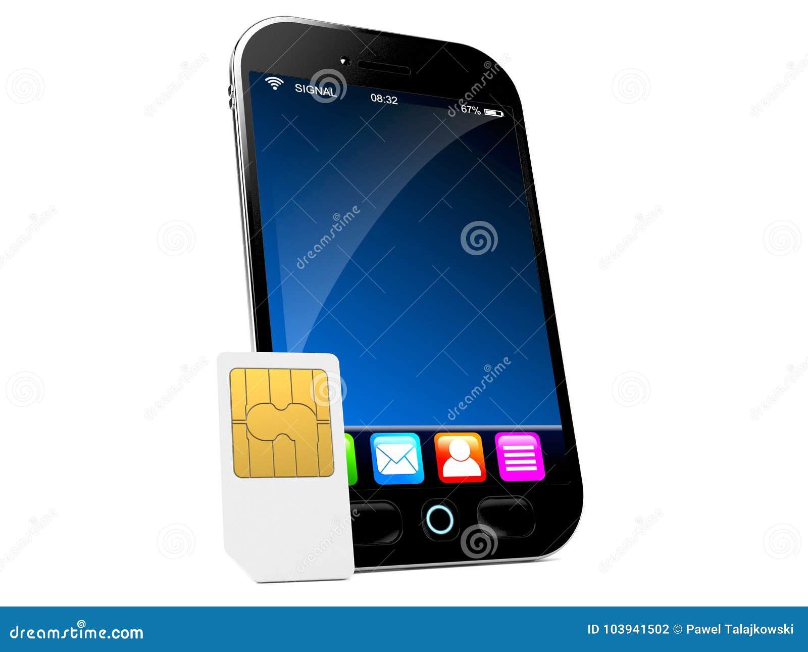 Smart telefon med SIM-kortet
