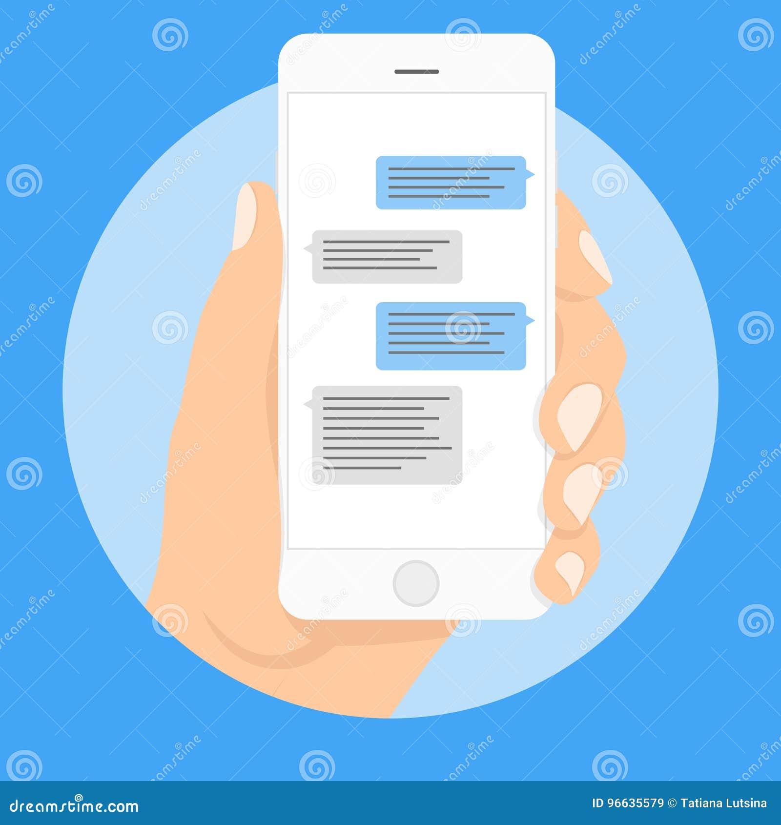 Smart telefon som pratar smsmallbubblor Förlägga din egen text till meddelandemolnen Komponera dialoger genom att använda prövkop