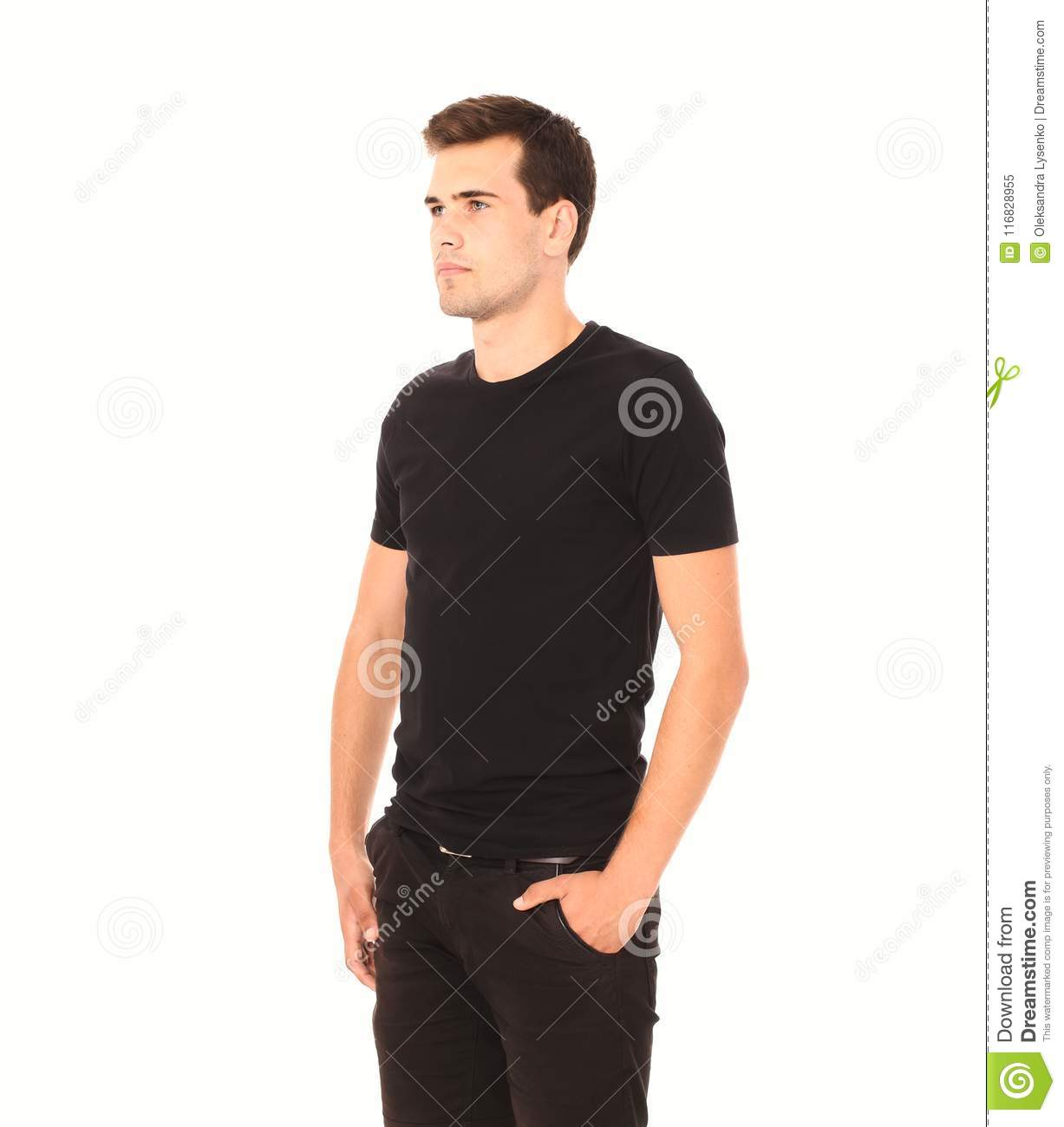b08e1f9a0444 Smart thinking young man in black template blank shirt isolated on white. Copy  space. Mock up. Summer t-shirt clothes.