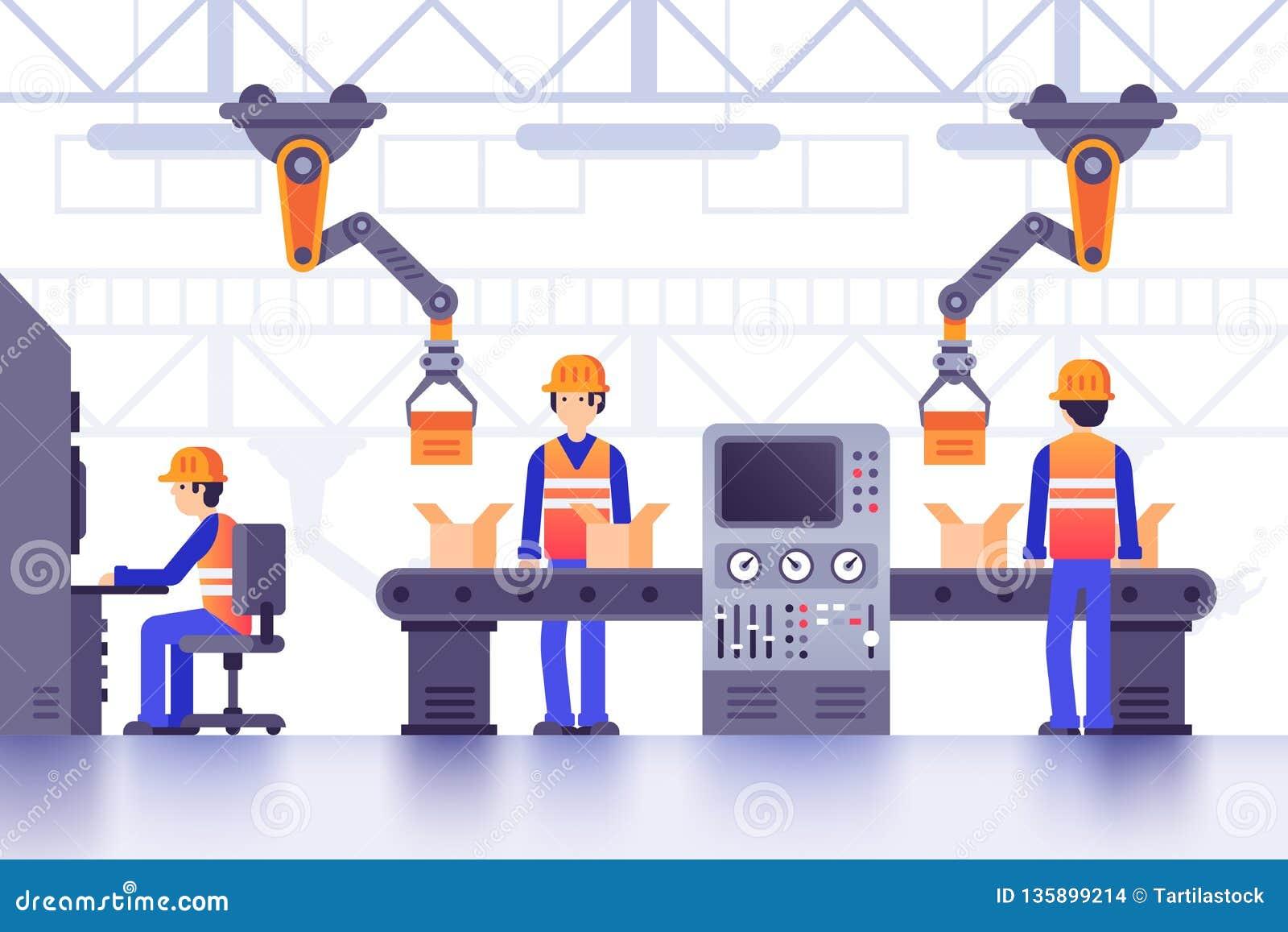 Smart tillverkningfabrikstransportör Modern industriell tillverkning, dator - kontrollerade fabriksmaskiner fodrar vektorn