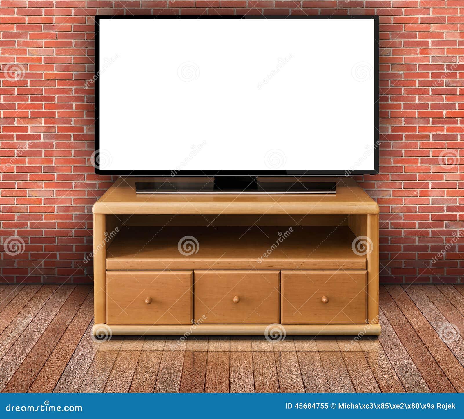 Smart tv con la pantalla en blanco en sala de estar for Sala de estar con tv