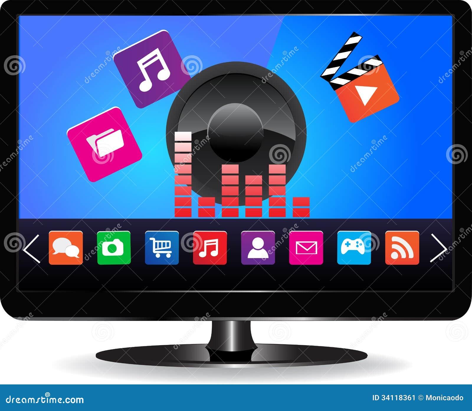 smart tv stock image image 34118361. Black Bedroom Furniture Sets. Home Design Ideas