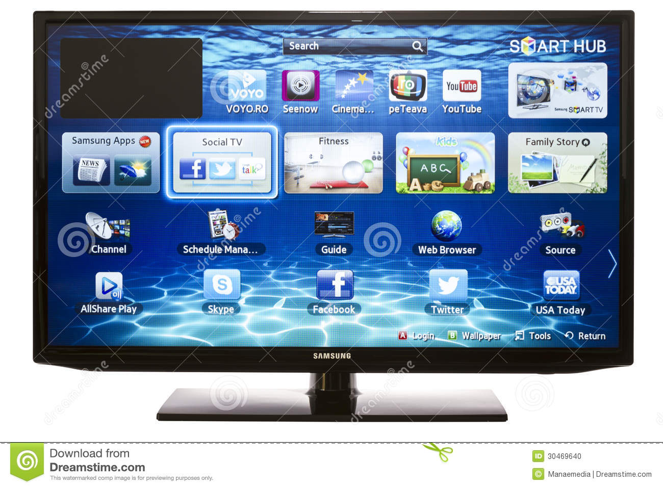 Smart TV With Samsung Apps And Web Browser Editorial Image - Image