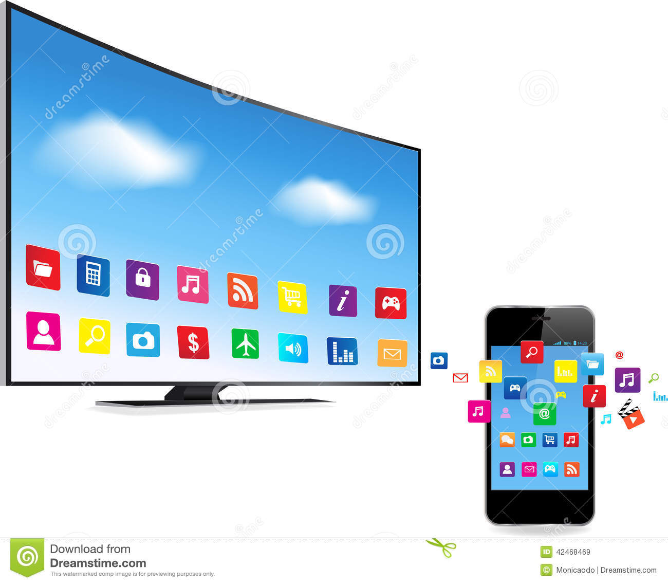 Smart TV And Smart Phone With Apps Stock Vector