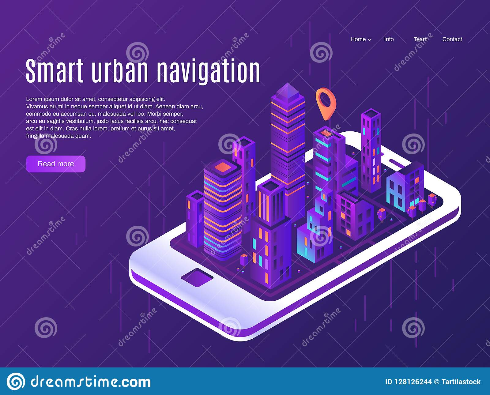 Smart urban navigation. City plane view on smartphone screen, building cities street plan and town map vector landing