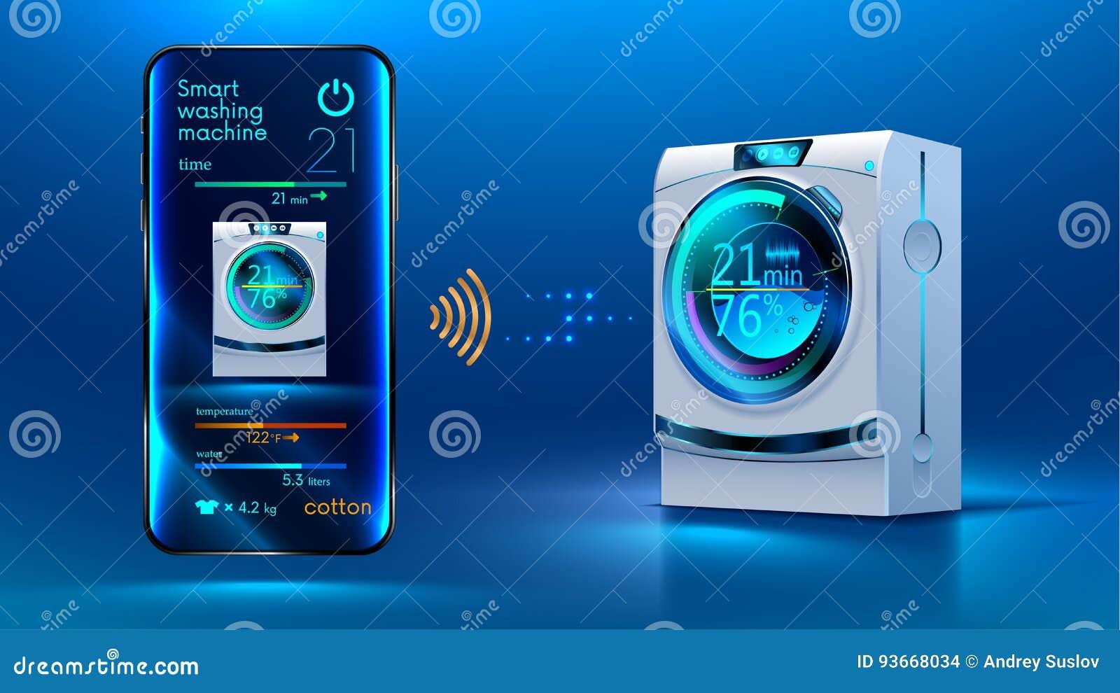 smart washing machine stock vector illustration of house 93668034. Black Bedroom Furniture Sets. Home Design Ideas