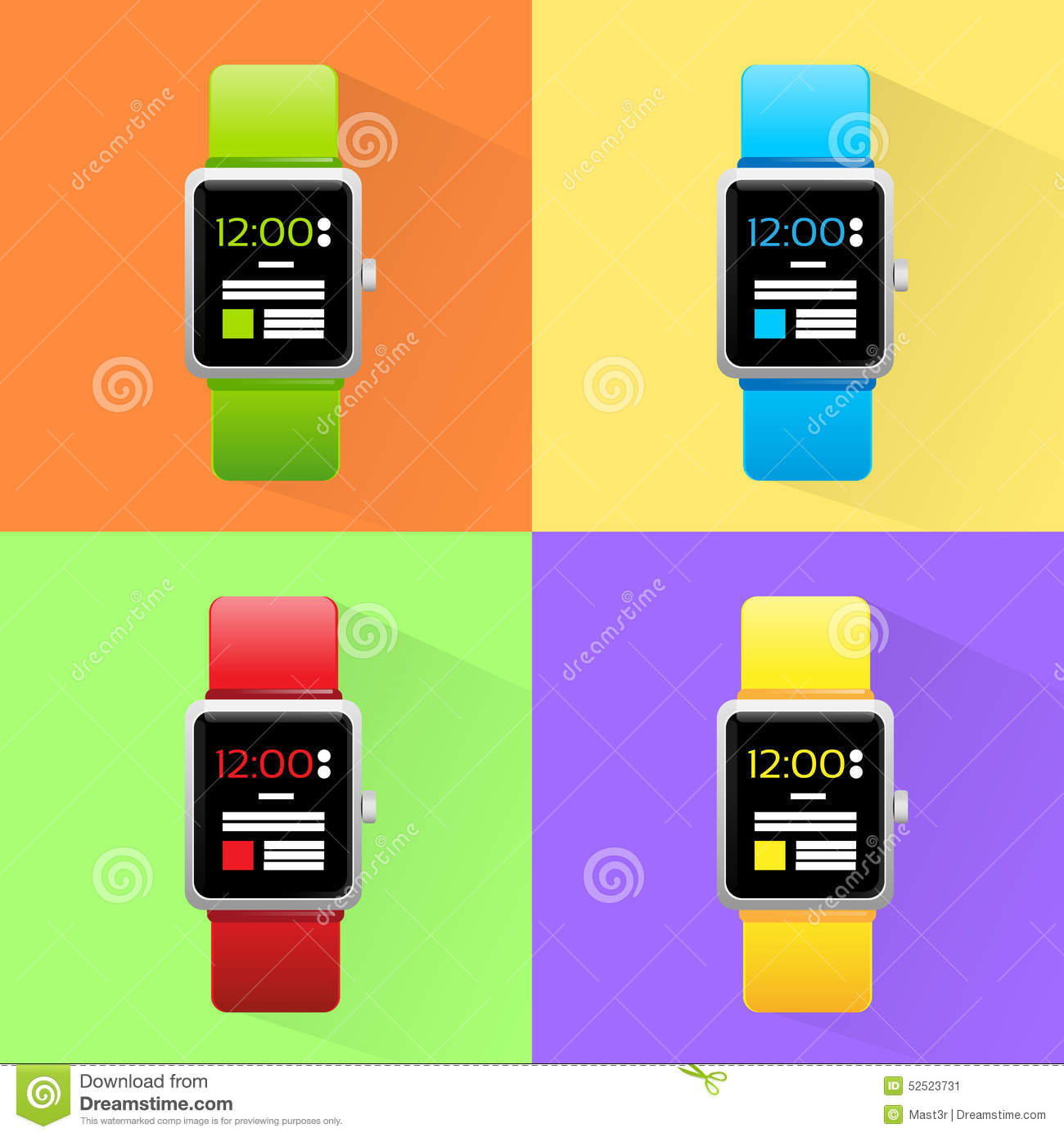 Smart watch set new technology electronic device stock for New technologies in electronics