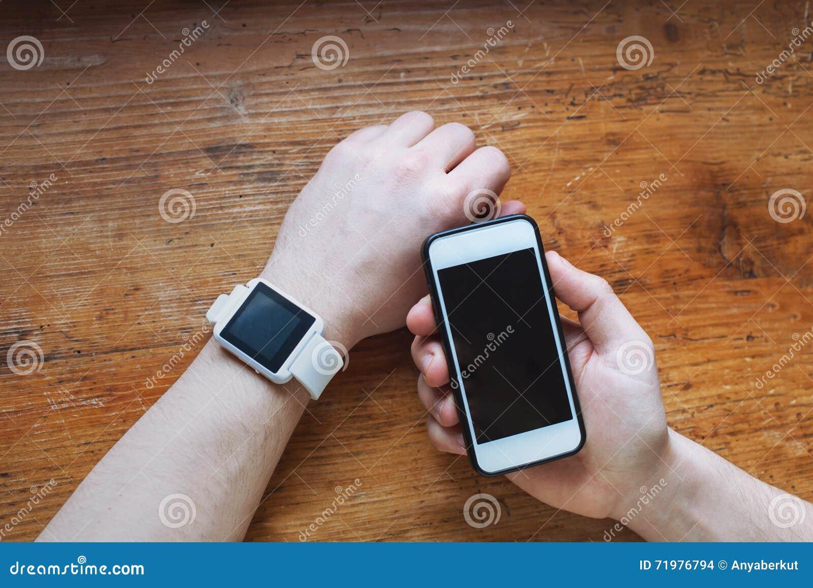 Modern Internet Smart Watch And Smartphone. Stock ...