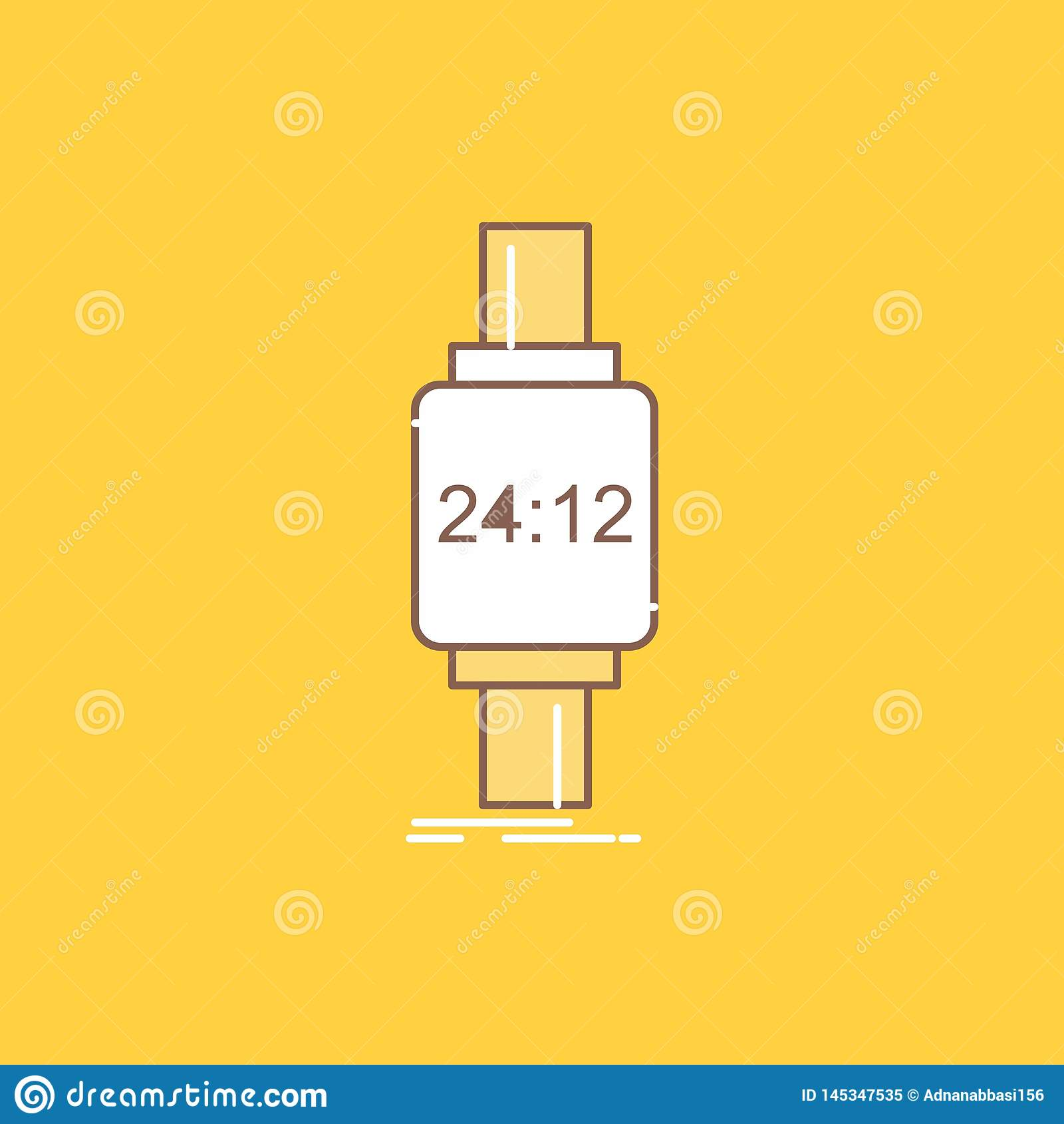 Smart Watch, Smartwatch, Watch, Apple, Android Flat Line Filled Icon