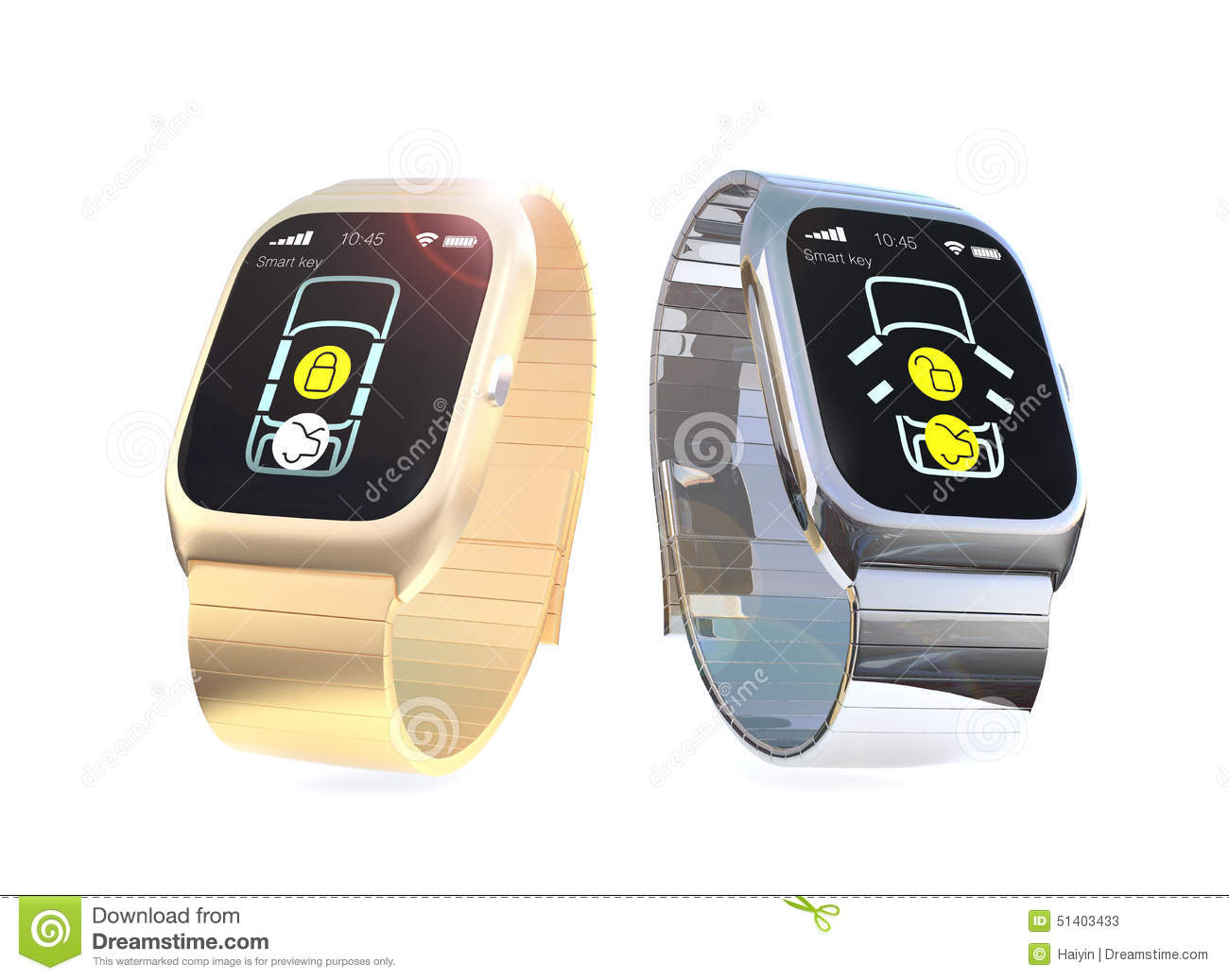 smart watches with app for car door lock and unlock stock illustration image 51403433. Black Bedroom Furniture Sets. Home Design Ideas