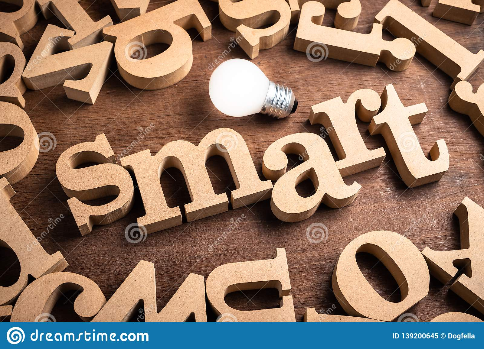 Smart Wood Word Stock Image Image Of Bulb Smart Goal