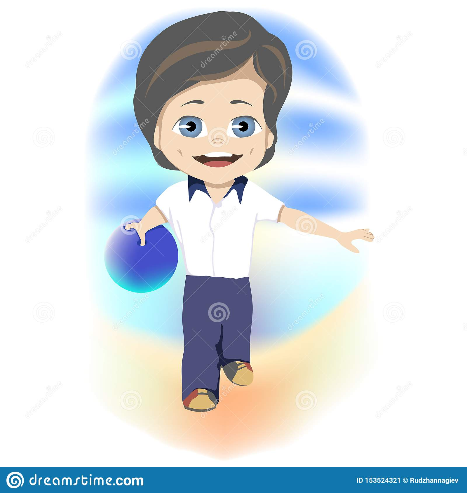 Happy childhood concept. Smart young boy playing a game of bowls during his summer vacation in a concept of recreational
