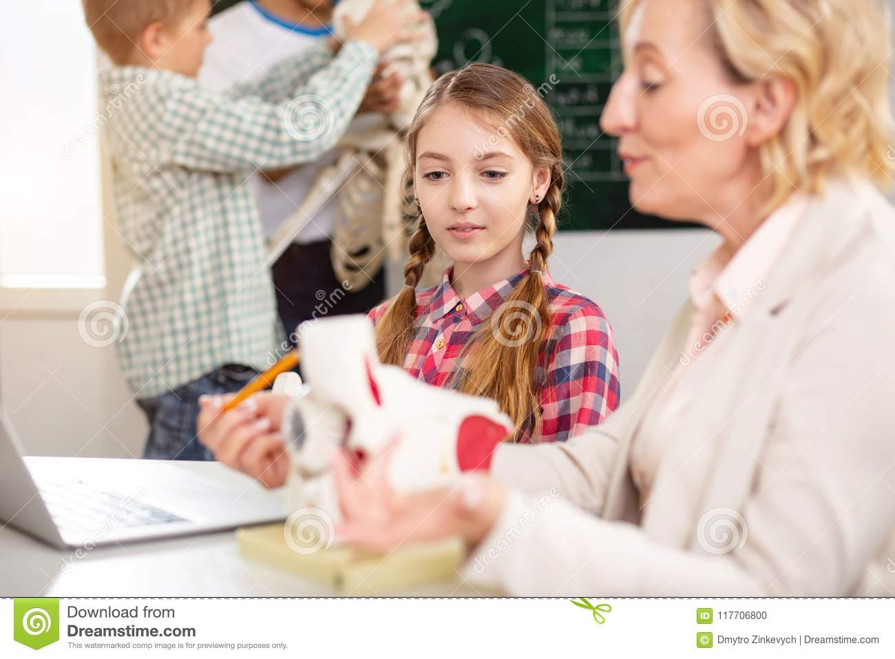 Smart Young Girl Having A Class Stock Photo Image Of Anatomy