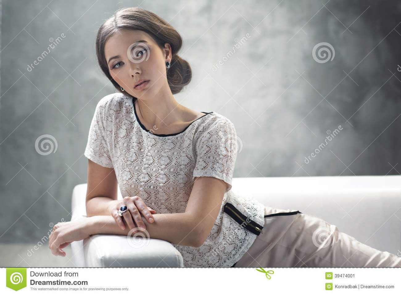 Smart Young Lady With Excellent Classic Hairstyle Stock Image