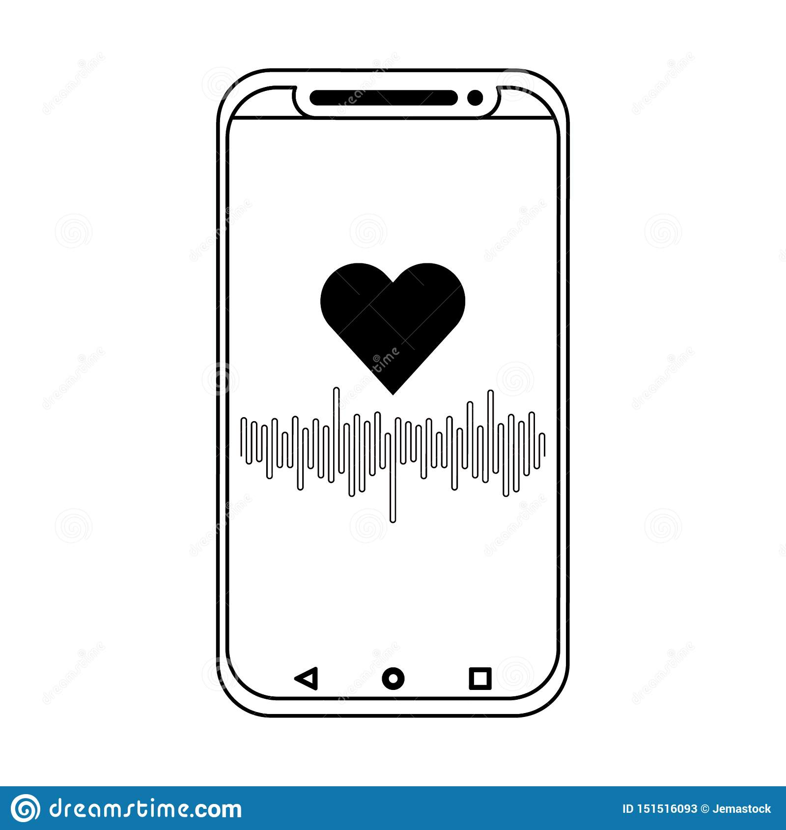 Smarthphone with cardiac frecuency app in black and white
