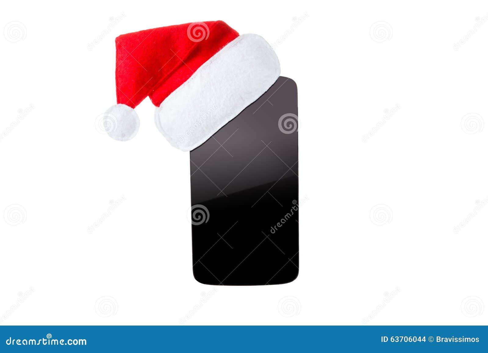 Smartphon dans le chapeau de Noël D isolement sur le fond blanc