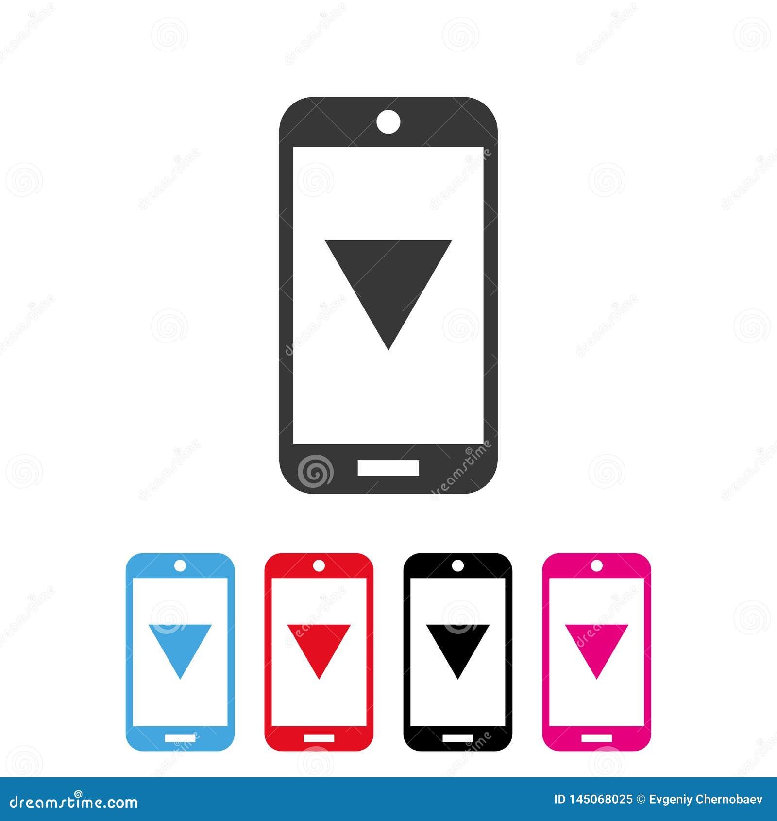 Smartphone ściągania ikony wektor eps10 Telefonu komórkowego ściągania wersji ikona