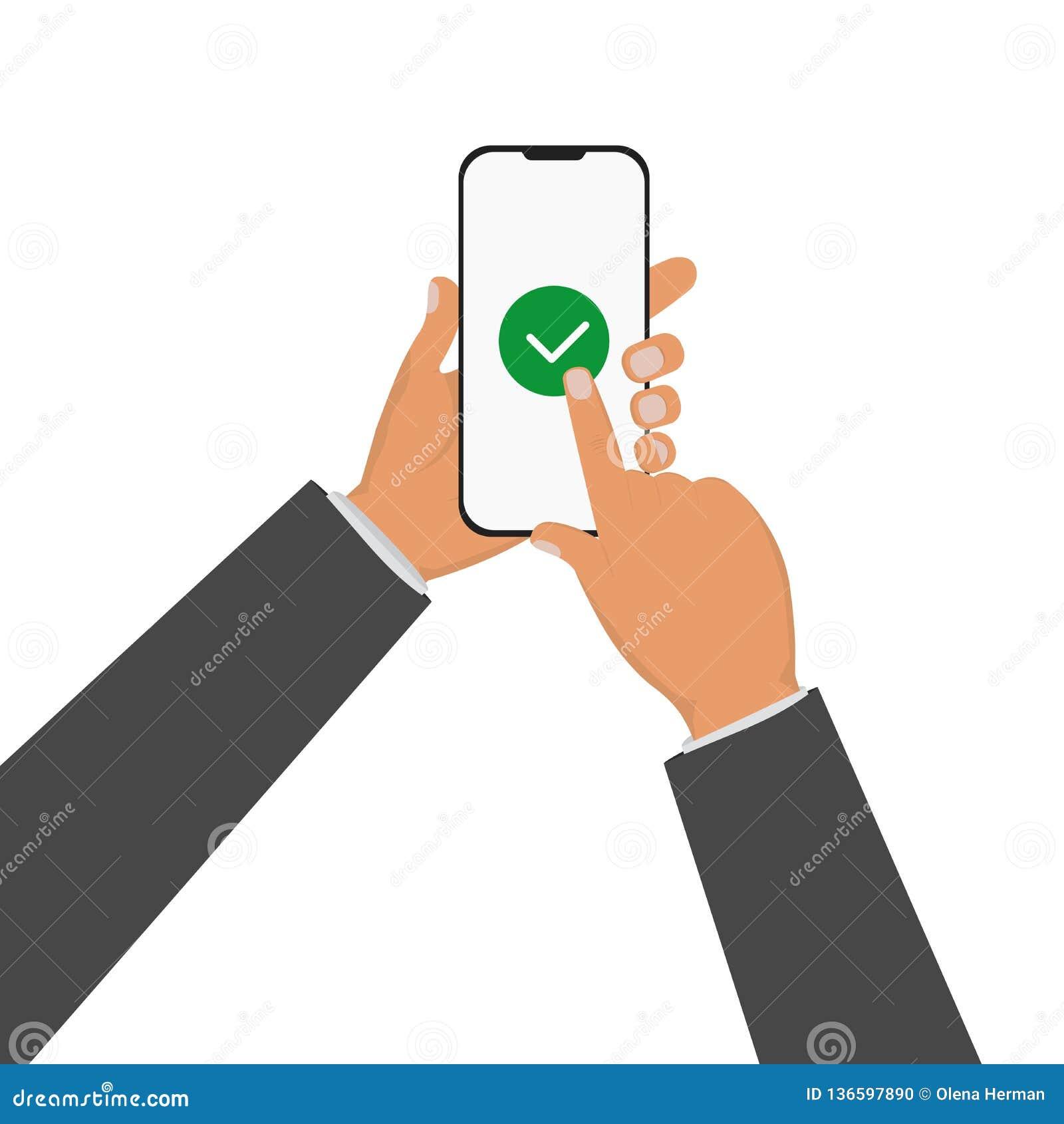 Smartphone εκμετάλλευσης χεριών επιχειρηματιών και αφή δάχτυλων