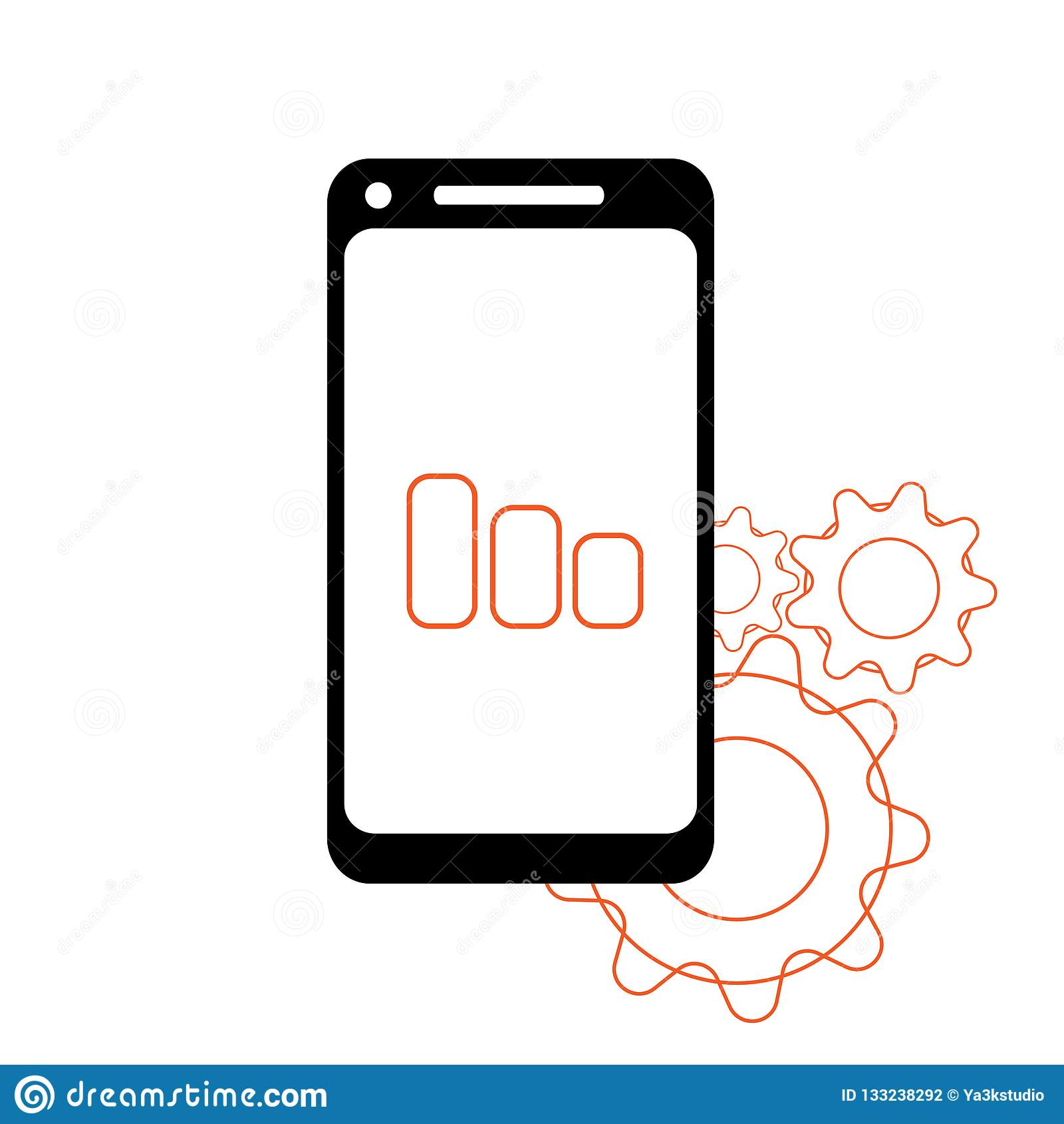 Smartphone в цвете черноты стиля iphone при пустой экран касания изолированный на белой предпосылке вектор пользы штока иллюстрац