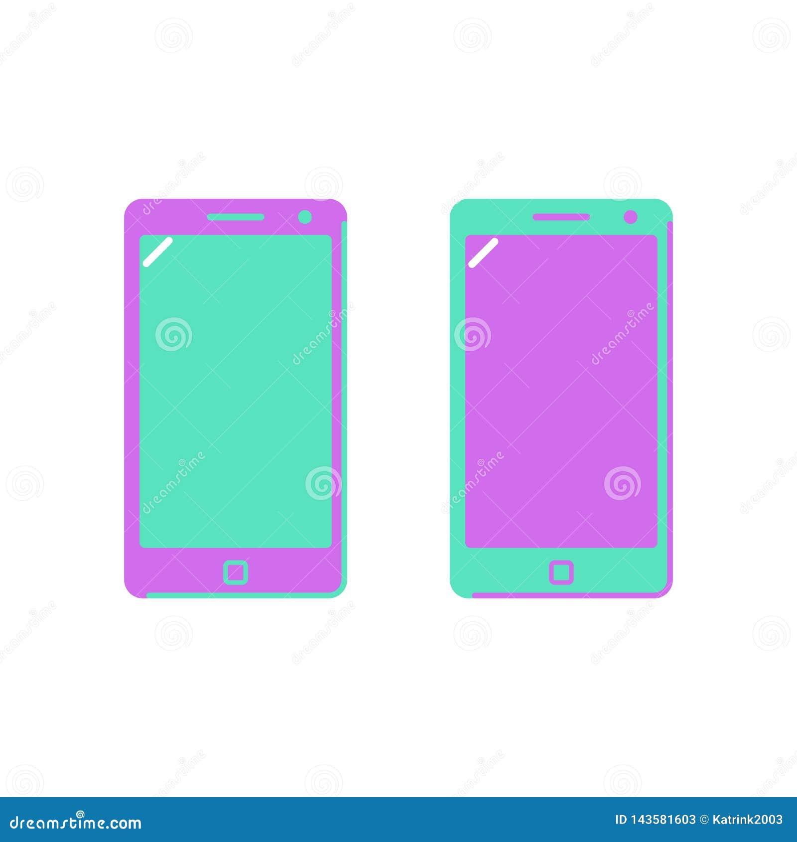Smartphone значка, телефон Яркие цветы Плоский стиль