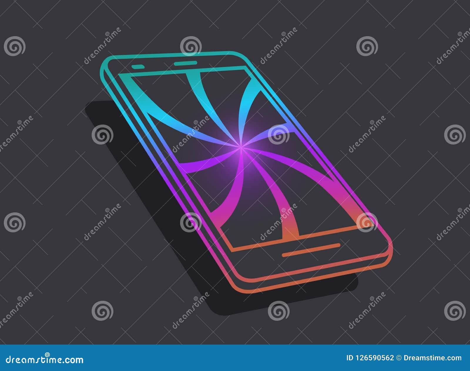 Smartphone Значки современной технологии Концепция концепции привлекательных технологий и интернета