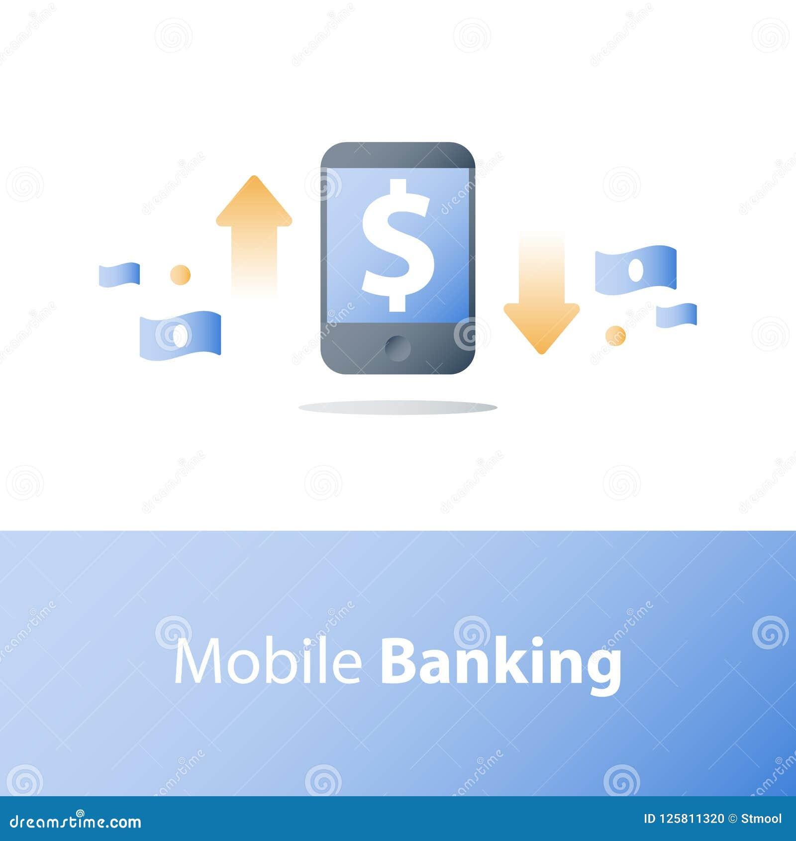 Smartphone и валютная биржа, знак доллара, передвижная оплата, онлайн-банкинг, финансовые обслуживания