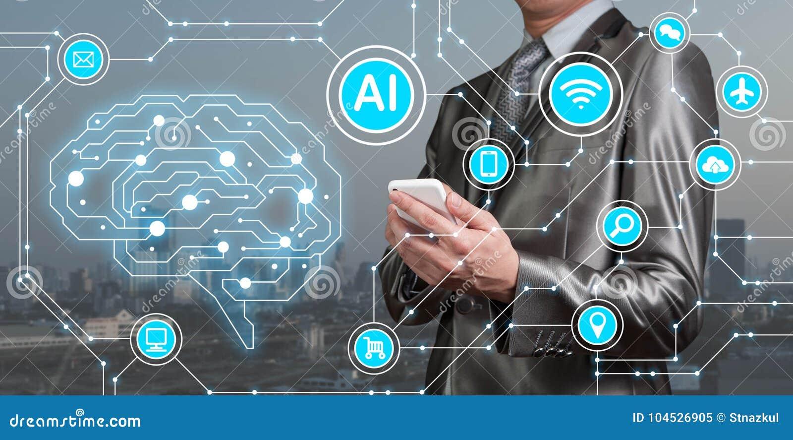 Smartphone пользы бизнесмена с значками AI вместе с technolog