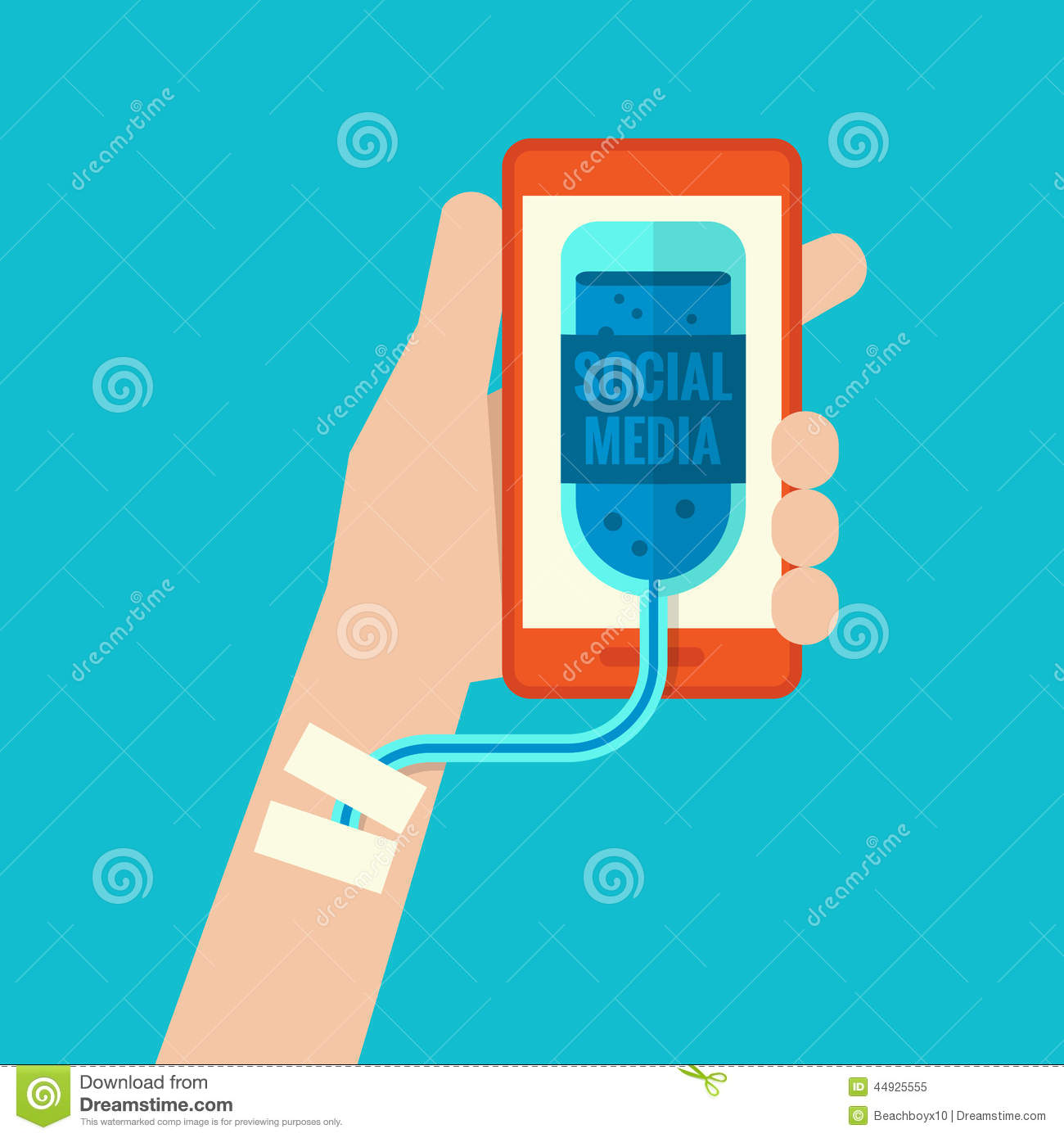 Smartphone Addiction Stock Vector Image 44925555