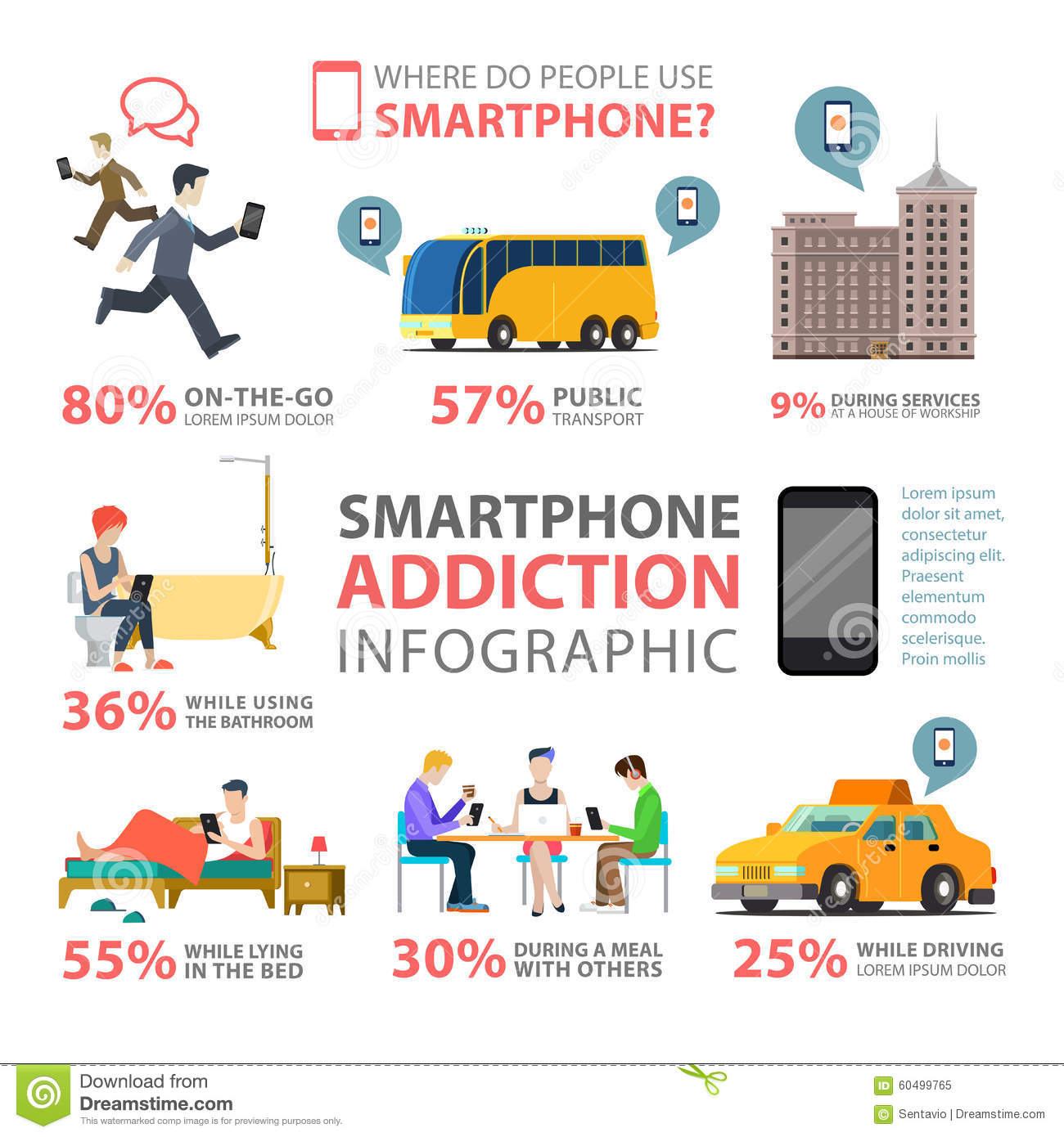 Smartphone Addiction Use Services Places Flat Vector Infographic Stock ...
