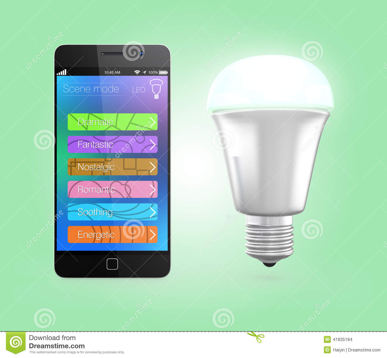 Smartphone App Control Led Lighting In Green Stock