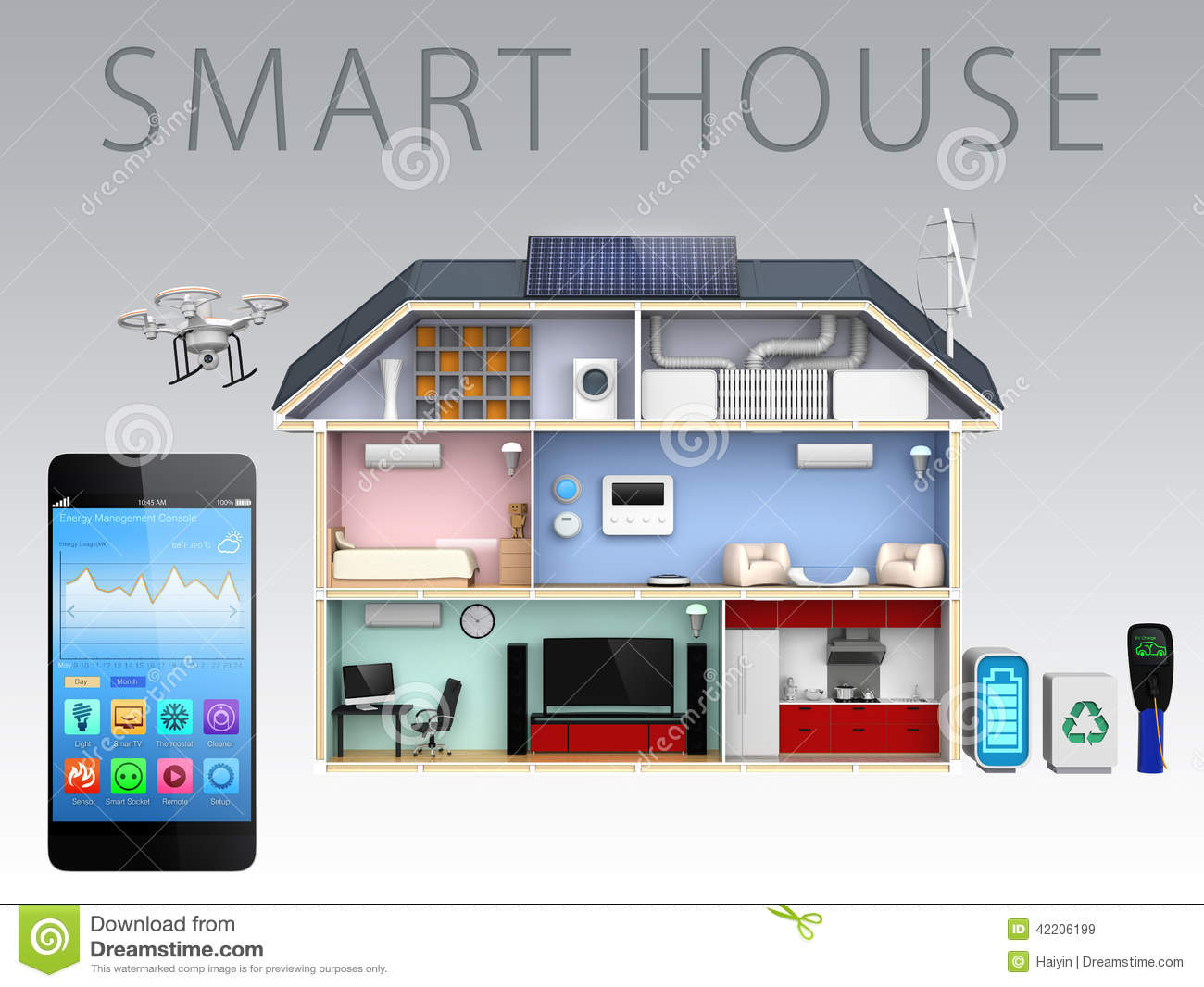 Smartphone App And Energy Efficient House For Smart House
