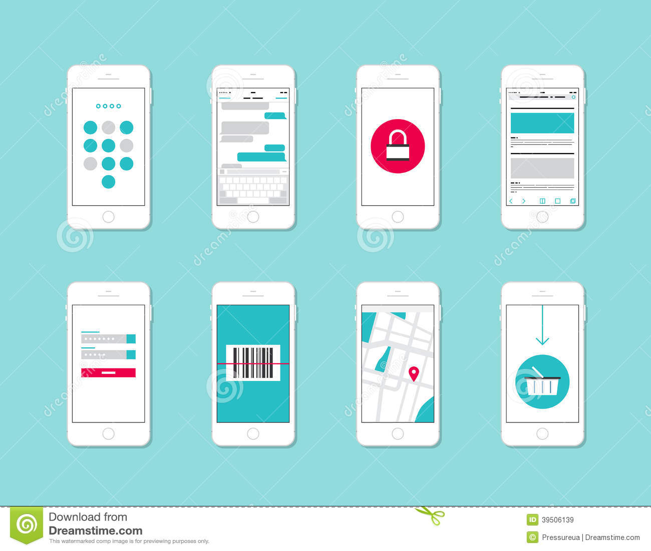 Home App Design: Smartphone Application Interface Elements Stock Vector