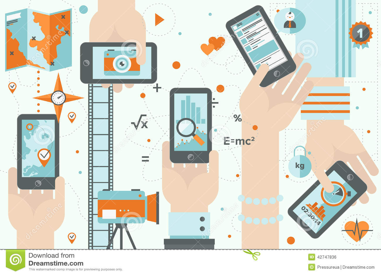 Smartphone apps in action flat design illustration
