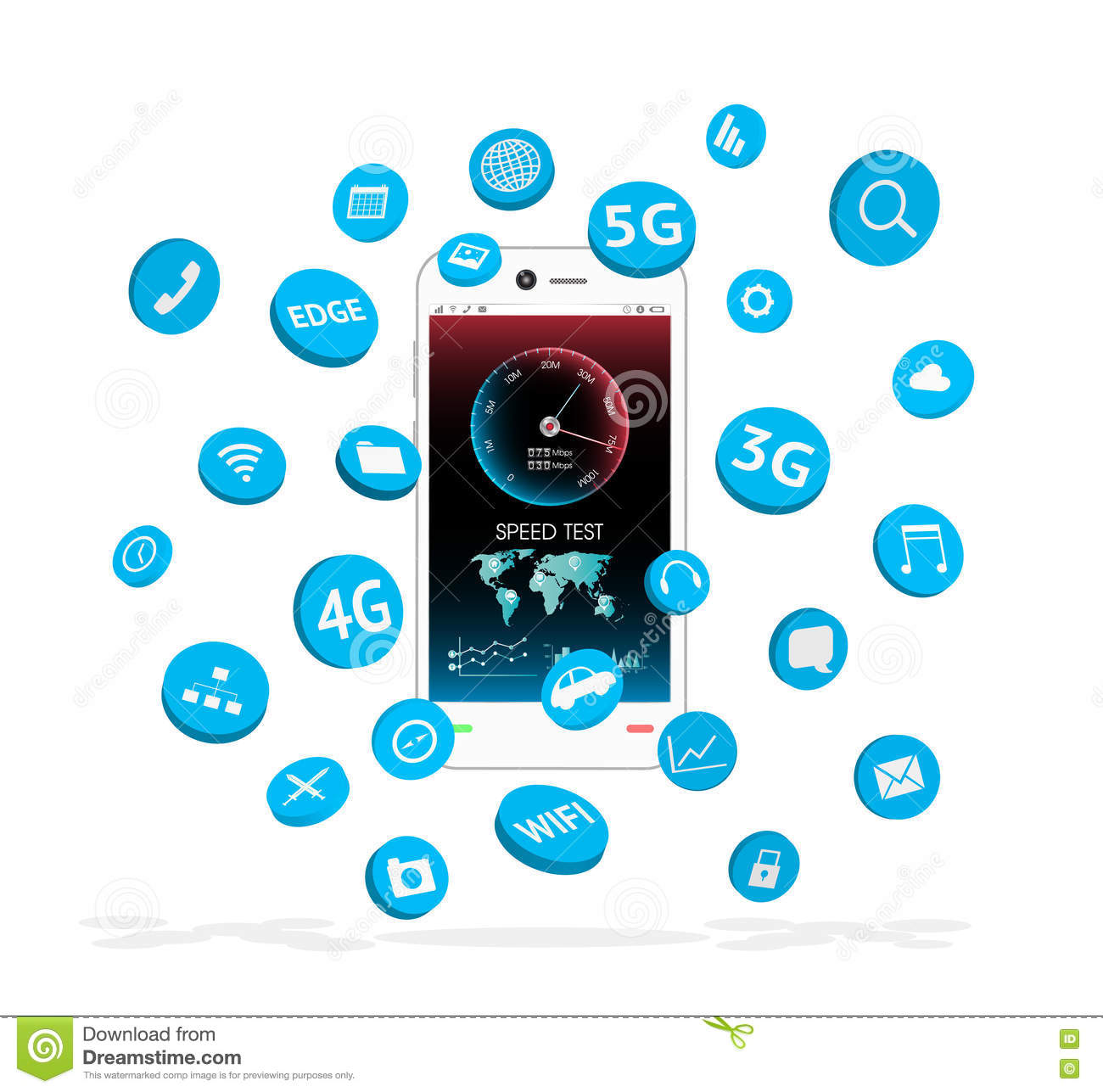 Smartphone with apps icon floating