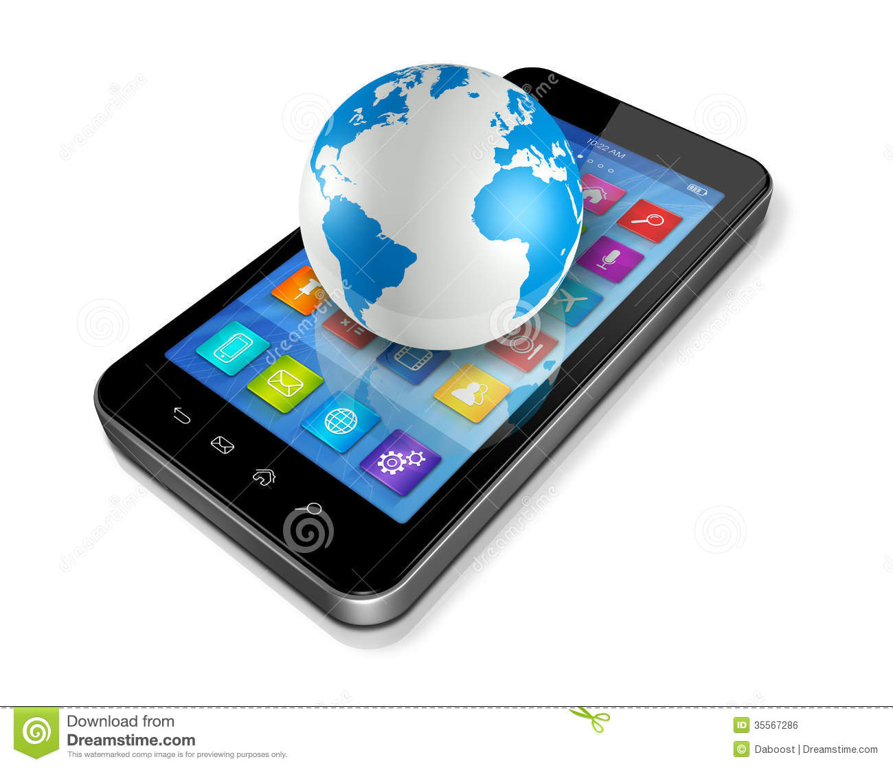 Smartphone With Apps Icons And World Globe Stock