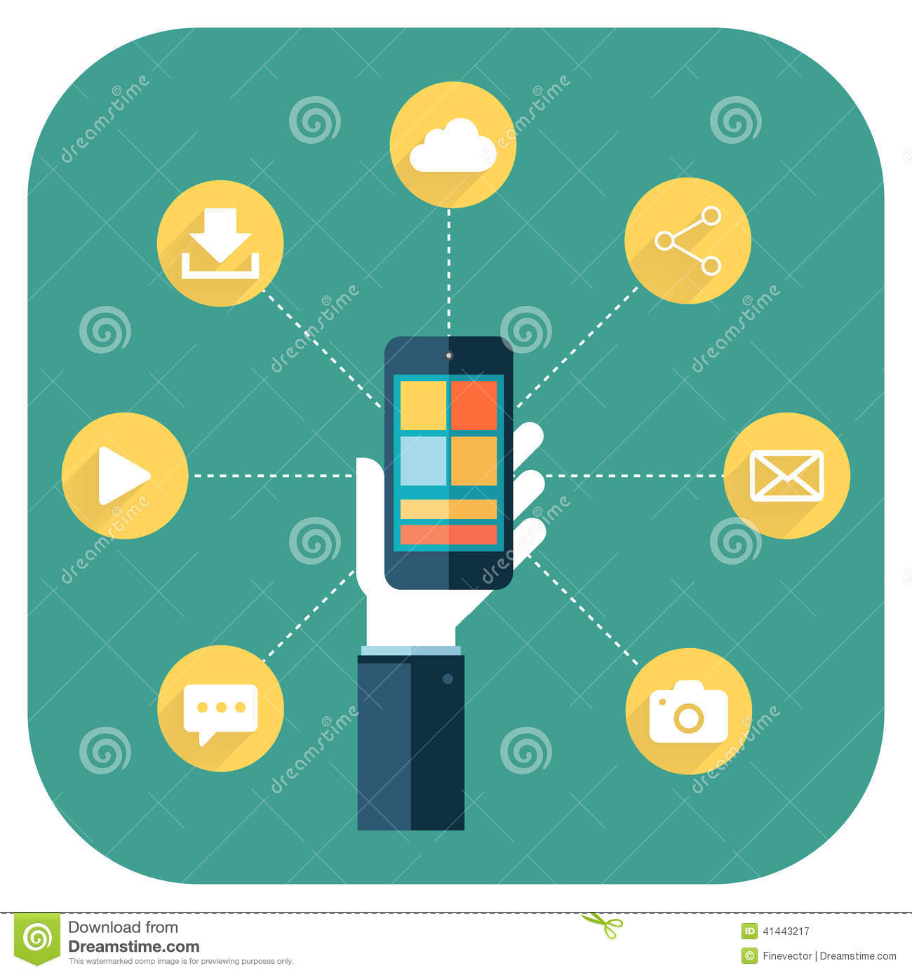 Vector Drawing Lines App : Smartphone apps infographics with a hand holding phone