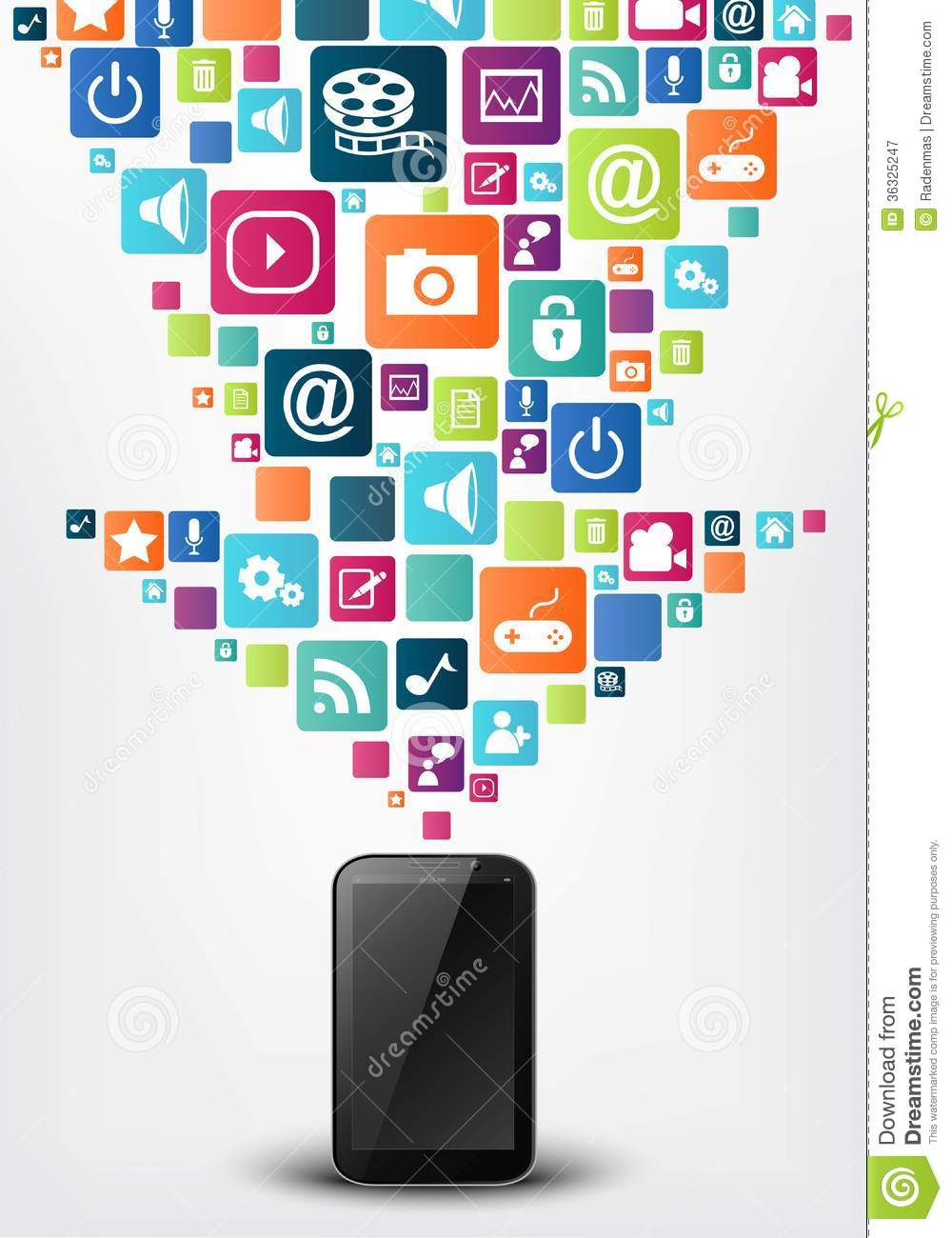 Smartphone with arrow social media icons