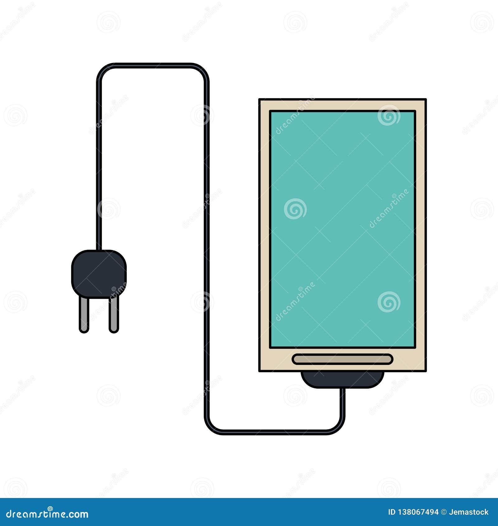 Smartphone avec le fil et la prise
