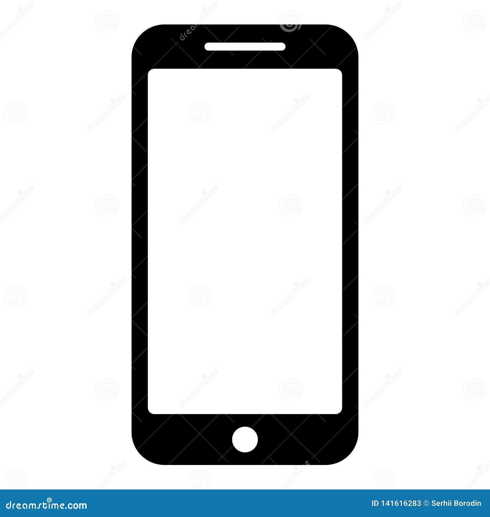 Smartphone-beeld van de de illustratie vlakke stijl van de pictogram het zwarte kleur vector