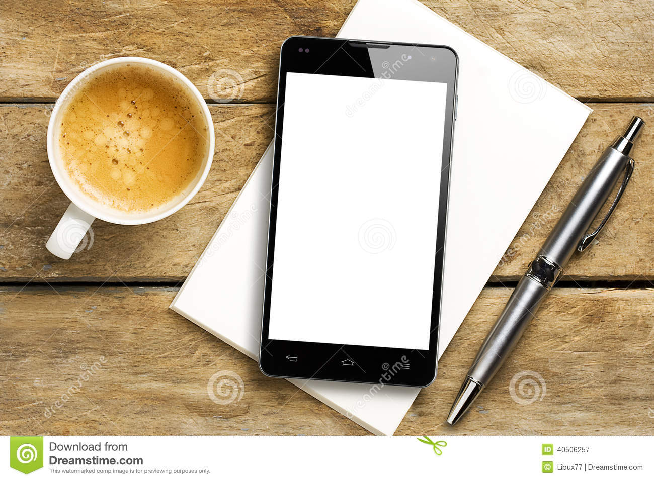 Smartphone Blank Screen Coffee Pen Notepad
