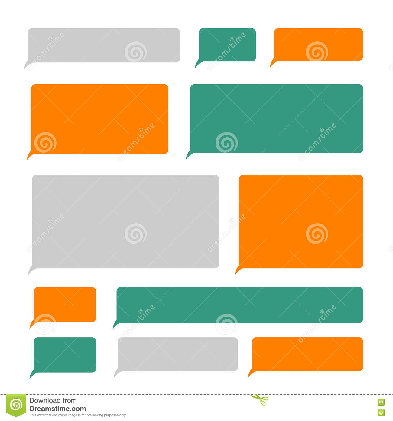 Smartphone Blank Sms Text Mobile Message Bubbles Vector Set Stock
