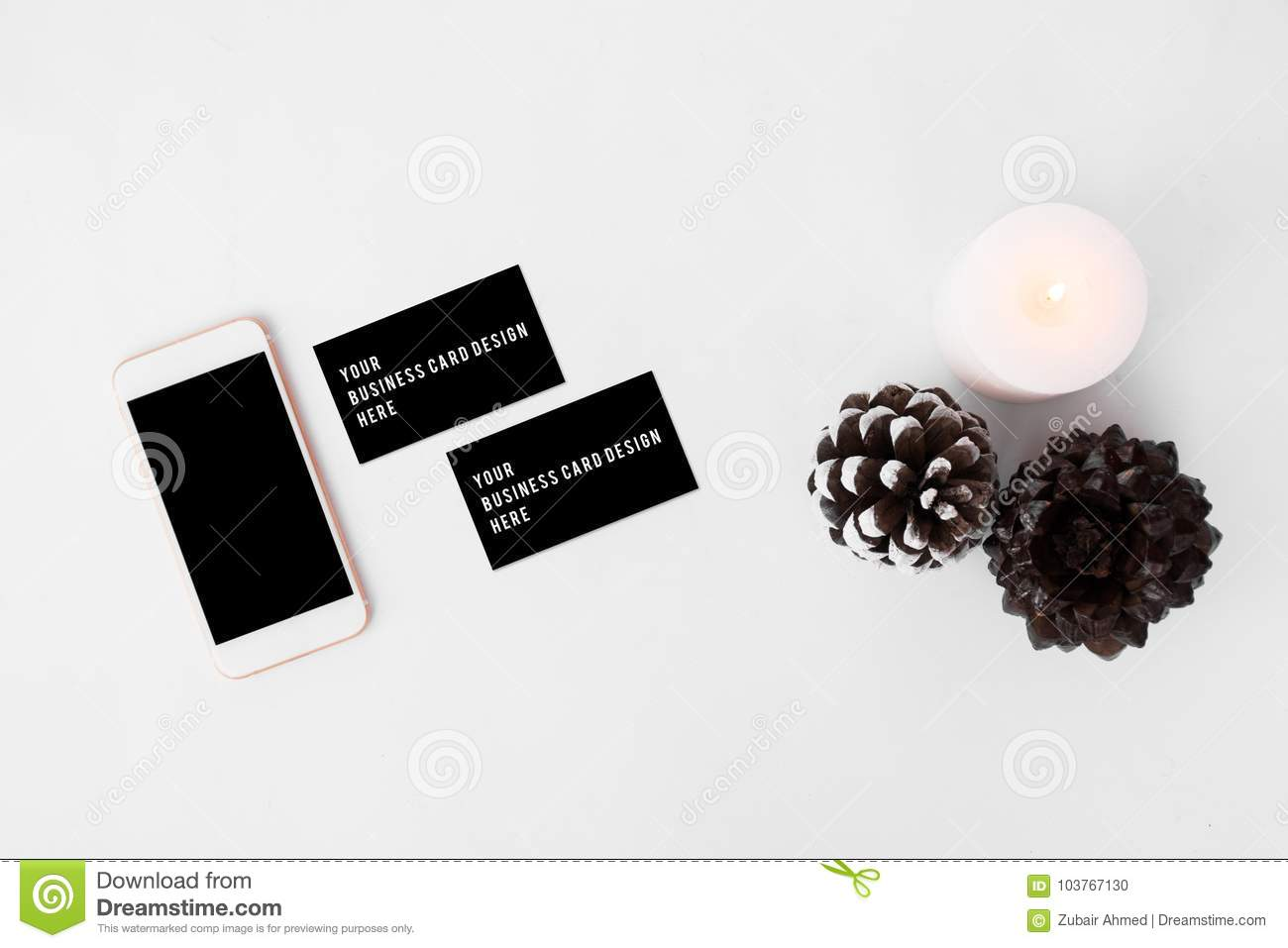 Smartphone business cards christmas composition stylish arrangement download smartphone business cards christmas composition stylish arrangement of cones and candle on white background colourmoves