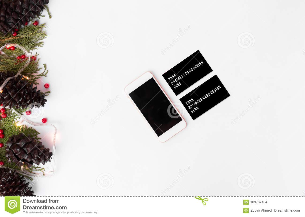 Christmas Business Decorations.Smartphone Business Cards Mockup For Christmas Fir Branches