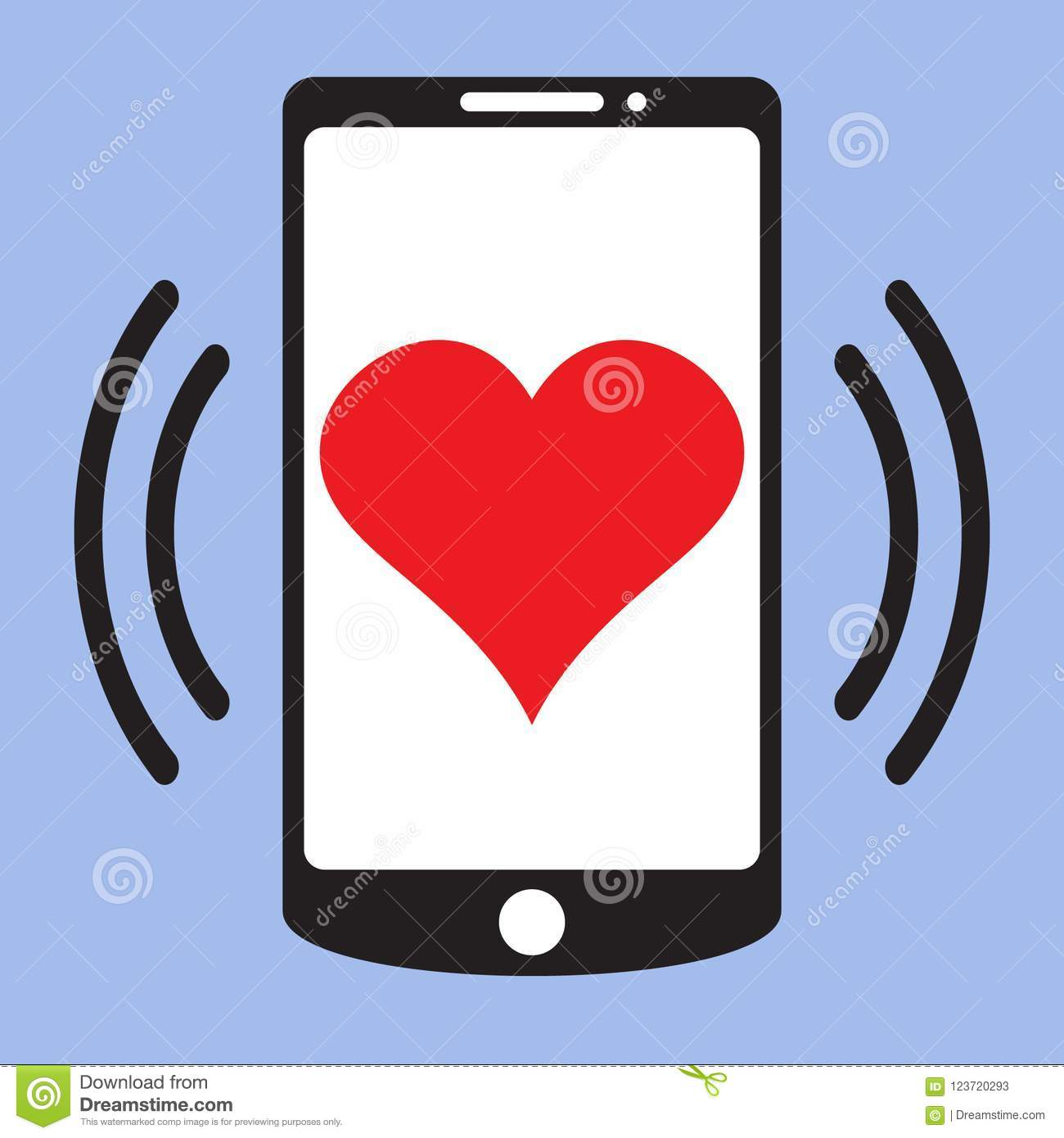 Smartphone Call With Heart On Screen Love Message Vector Icon