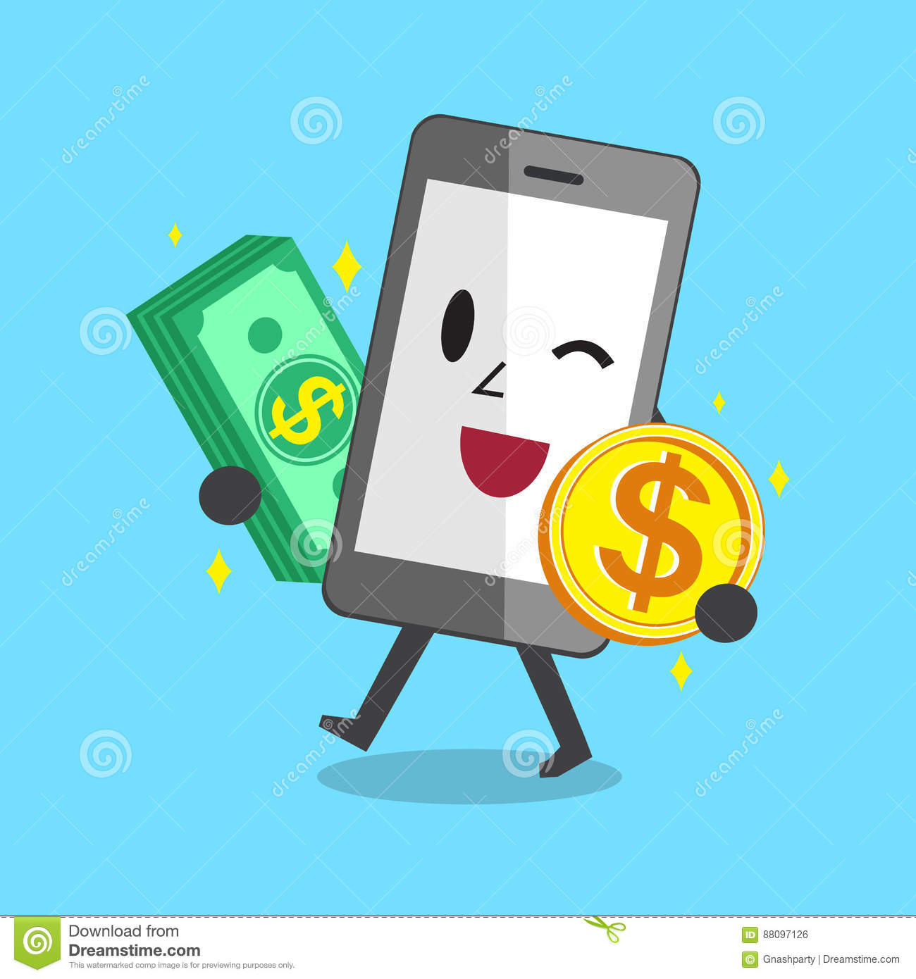 Smartphone carrying money stack and coin