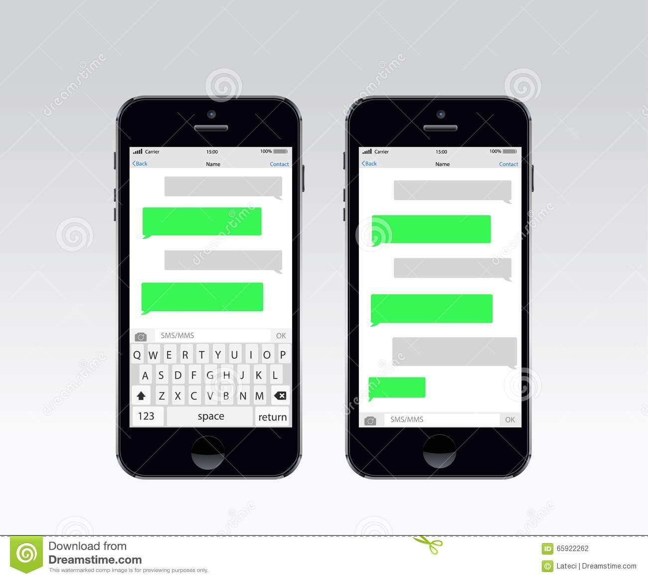 Smartphone chatting sms template bubbles. Stock vector.