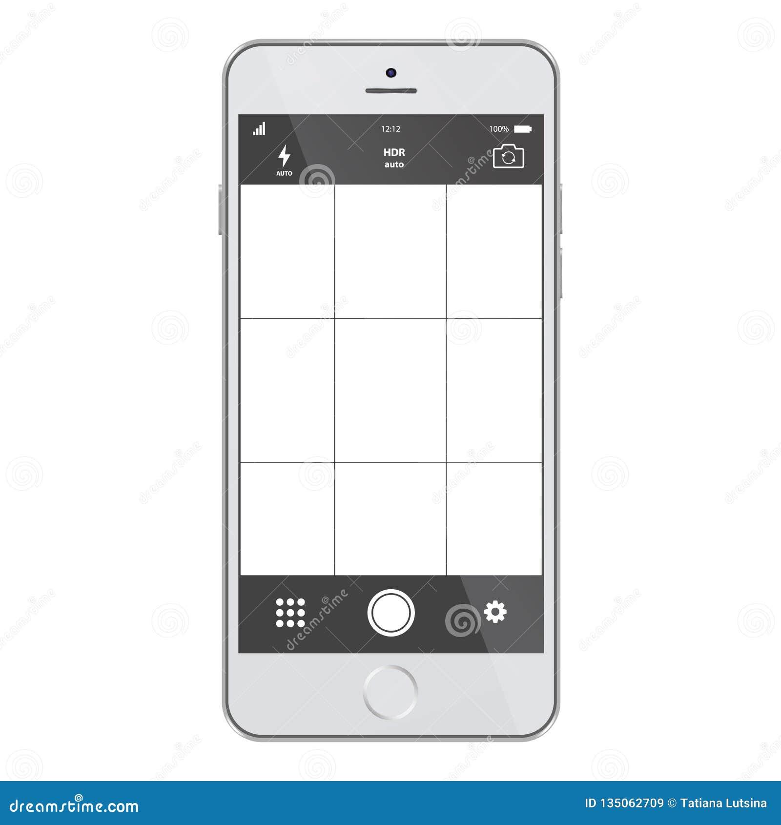 Smartphone com a tela do app da câmera Molde moderno da aplicação da foto dos smartphones