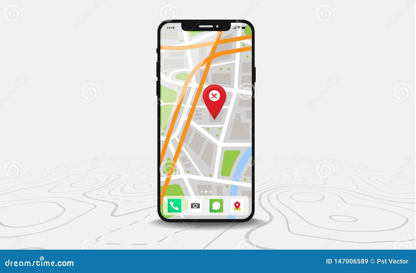 Smartphone con el mapa y la punta roja en la pantalla, aislada en la línea fondo de los mapas