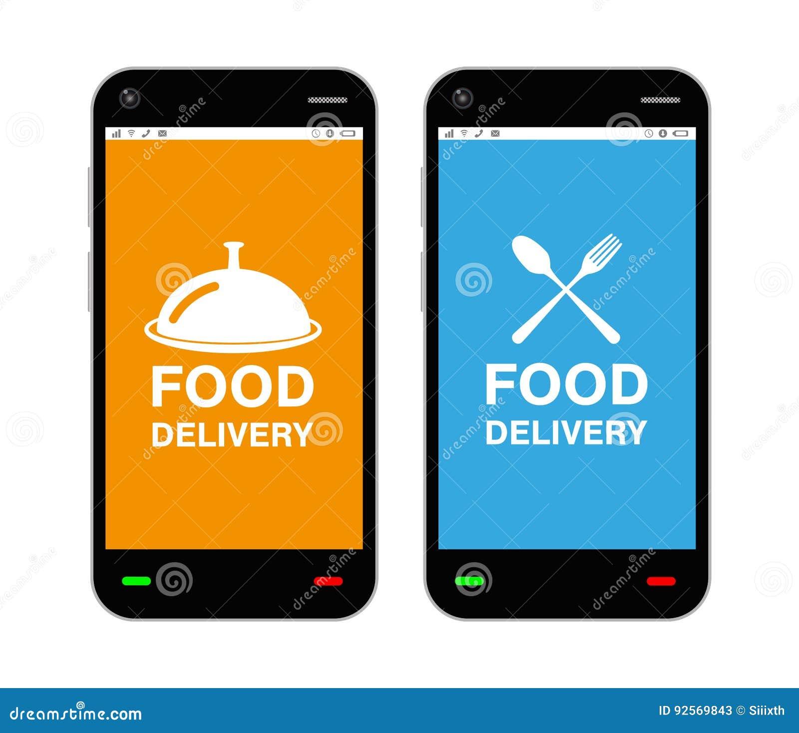 Smartphone con il logo di applicazione di consegna dell alimento sullo schermo