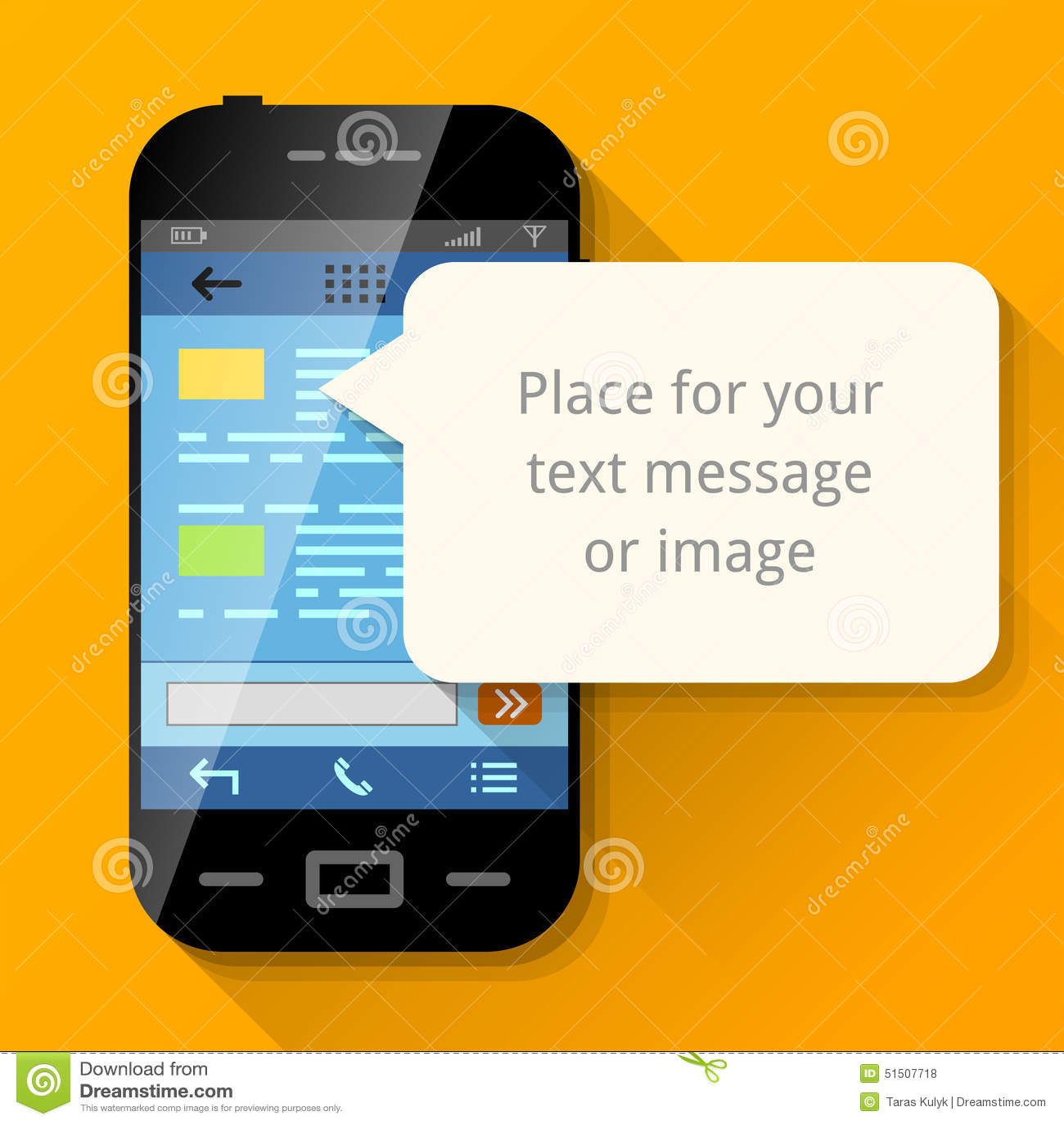Smartphone con la burbuja en blanco del mensaje
